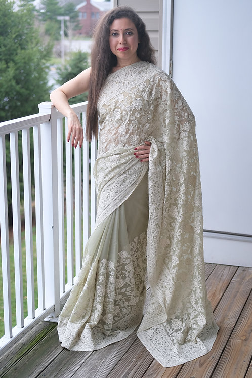 Shimmer Georgette Chikankari Saree in Light Green and White