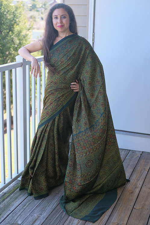 Ajrakh Saree on Pure Modal Silk with Natural Dye in Green