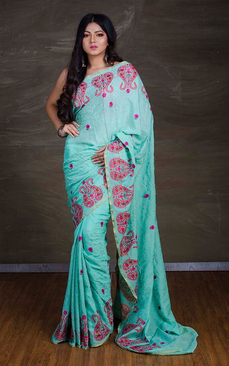 Kashmiri Embroidery Work Crepe Silk Saree in Sea Green