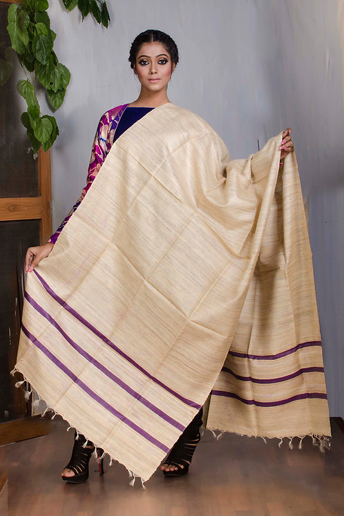 Pure Handloom Tussar Dupatta in Beige and Purple