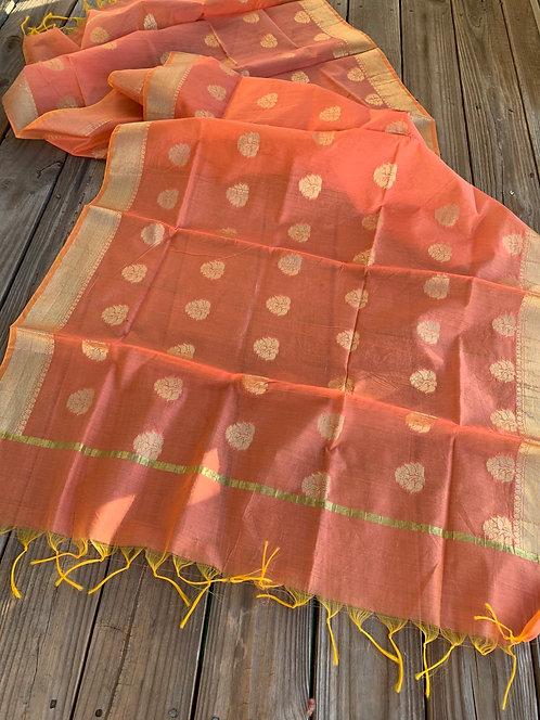 Chanderi Cotton Banarasi Dupatta in Peach and Gold