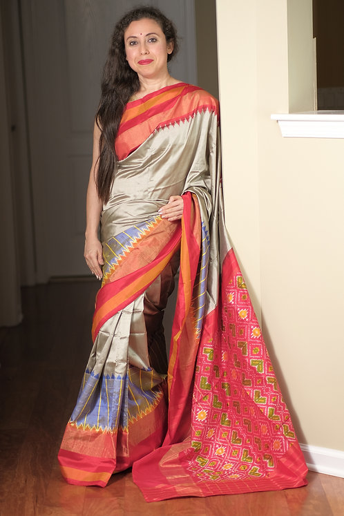 Pochampally Double Ikat Silk Saree in Silver Gray, Blue and Red