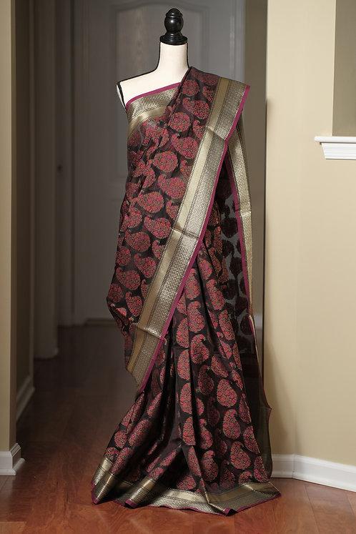 Blended Cotton Banarasi Saree in Black and Brushed Gold