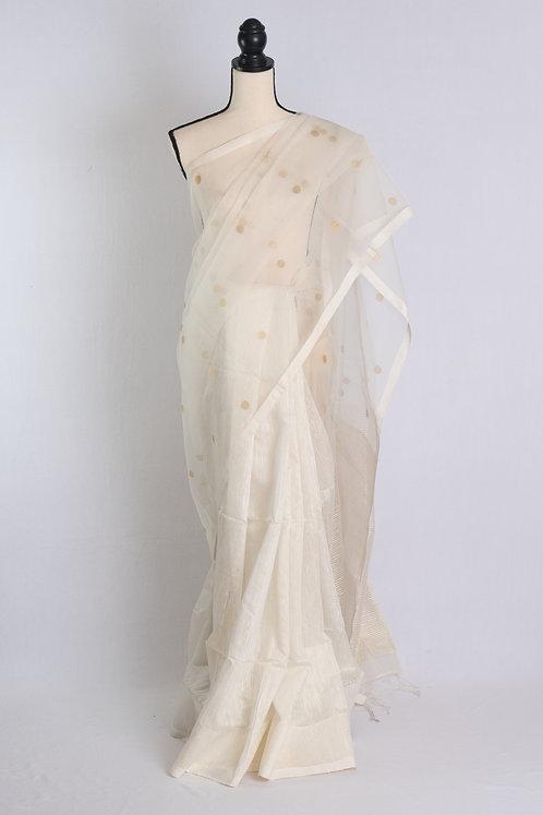 Half Semi Muslin and  Half Cotton Silk Saree in White