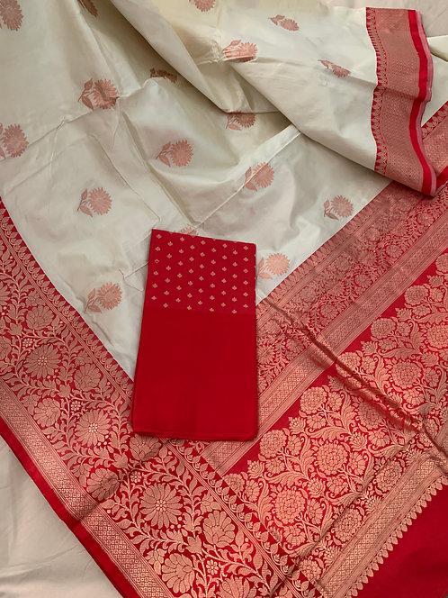 Pure Banarasi Katan Silk Saree in Off White and Red