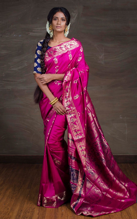 Swarnachari Silk Saree in Magenta and Gold