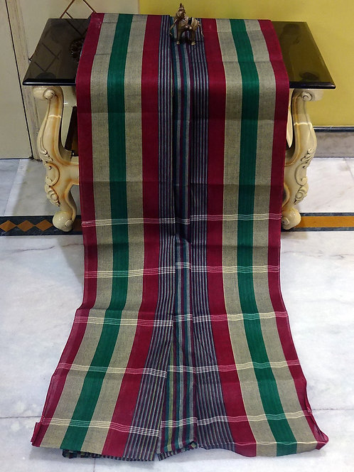 Bengal Handloom Cotton Saree with Starch in Gray, Red and Green