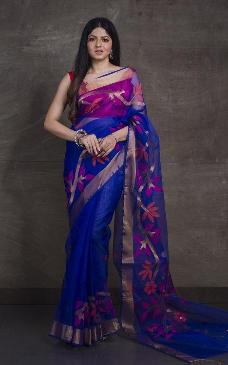 Muslin Jamdani Saree in Royal Blue