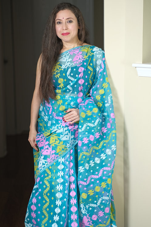Jamdani Saree with Starch in Blue, Pink, Yellow and White