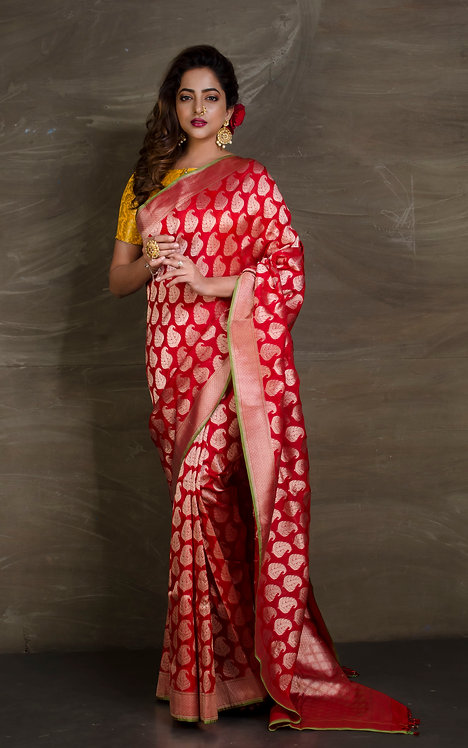 Pure Summer Katan Banarasi Saree in Crimson Red and Brushed Gold
