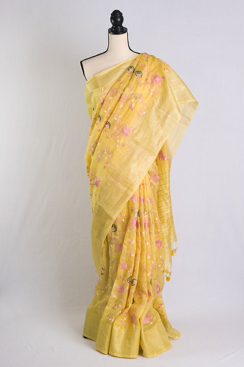 Embroidery Silk Linen Saree in Yellow and Gold