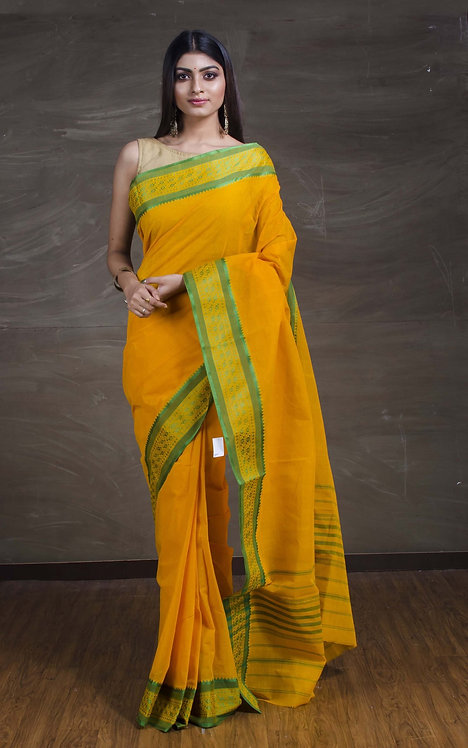 Bengal Handloom Cotton Hazar Buti Saree with starch in Yellow and Green