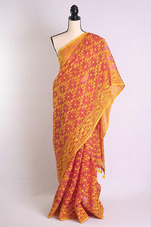 Soft Jamdani Saree in English Orange and Yellow