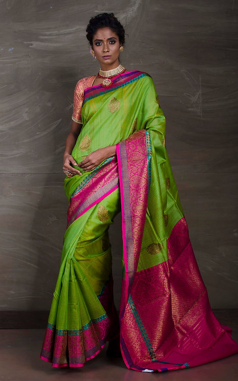 Dupion Tussar Banarasi Saree in Green and Magenta