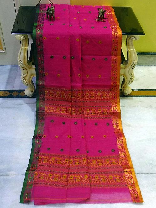 Bengal Handloom Cotton Saree with Starch in Hot Pink, Sunset Orange & Pine Green