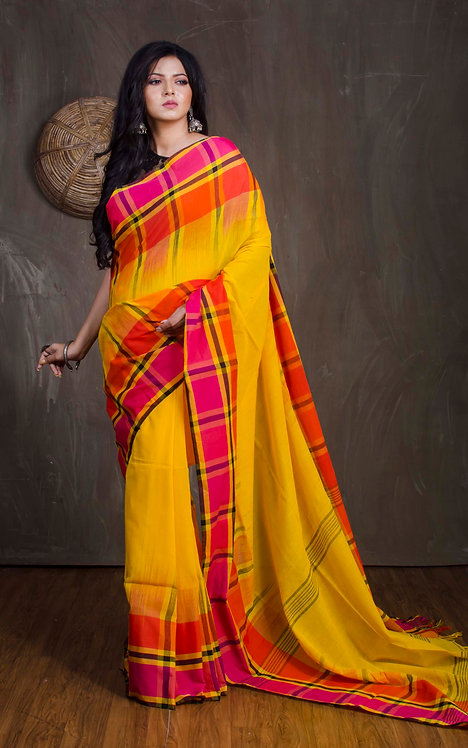 Soft Cotton Checks Border Saree in Yellow, Orange and Pink
