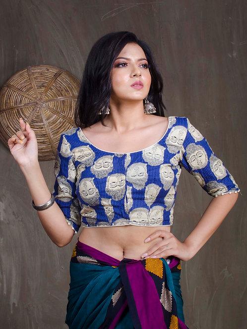 Blue Buddha Print Designer Saree Blouse in Size 36