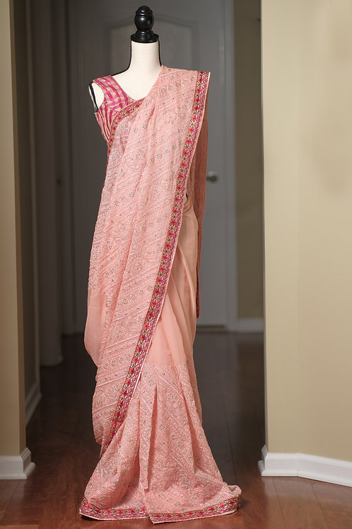 Designer Chiffon Embroidery Saree in Baby Pink