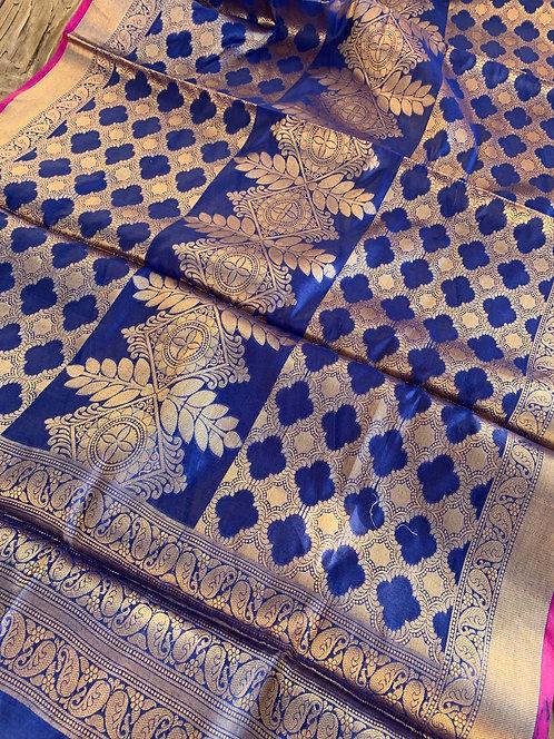 Jaal Work Cotton Banarasi Dupatta in Blue and Gold