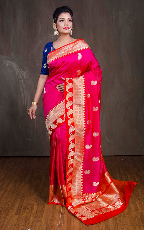 Pure Katan Silk Banarasi Saree in Rose Pink, Orange and Gold