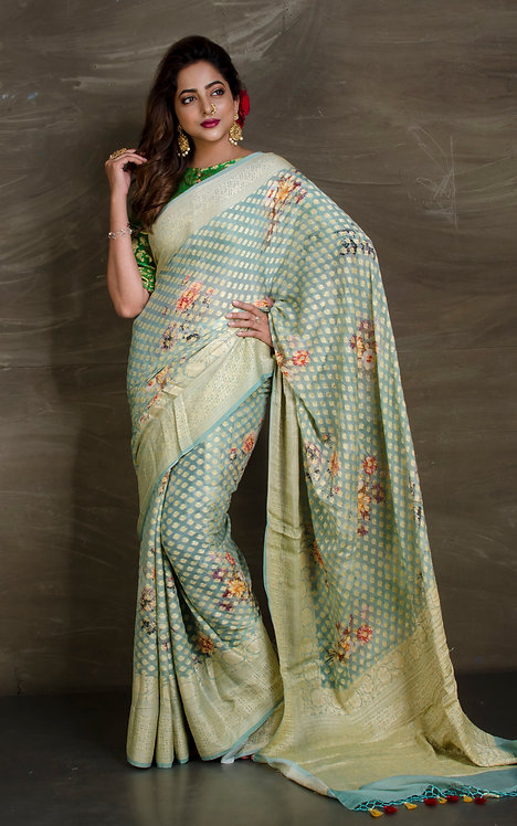 Digital Printed Pure Chiffon Banarasi Saree in Light Blue