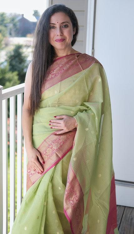 Semi Cotton Kota Banarasi Saree in Green, Dark Pink and Gold