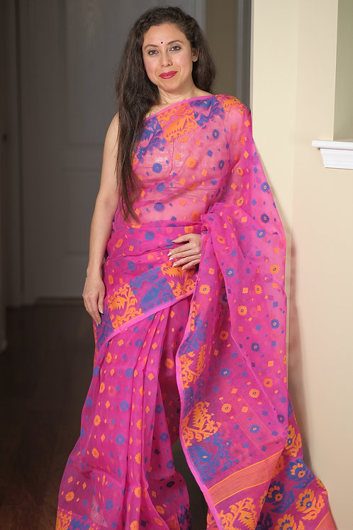 Jamdani Saree with Starch in Pink, Yellow and Blue
