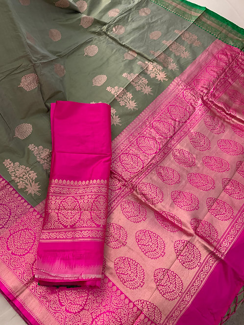 Pure Banarasi Katan Silk Saree in Sage Green, Green and Hot Pink