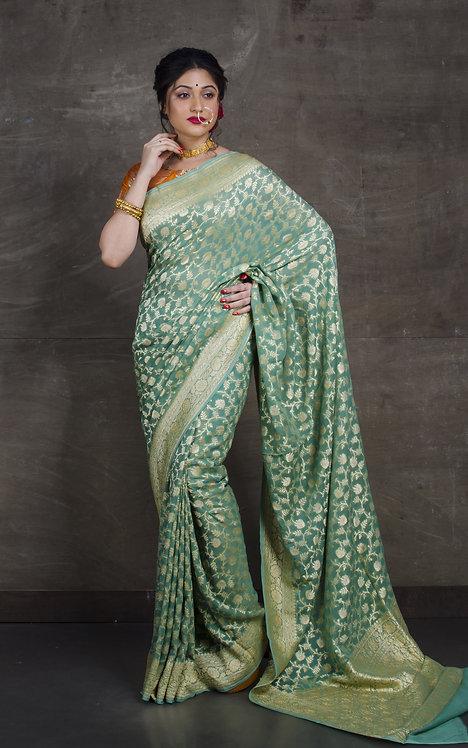 Pure Khaddi Georgette Banarasi Saree in Sage Green and Brushed Gold