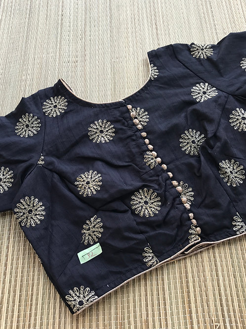 Black Zari Embroidery Blouse in Size - 32