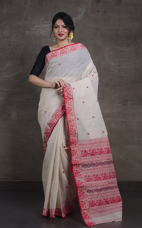 Bengal Handloom Cotton Baluchari Saree with Starch in Off White, Red and Black