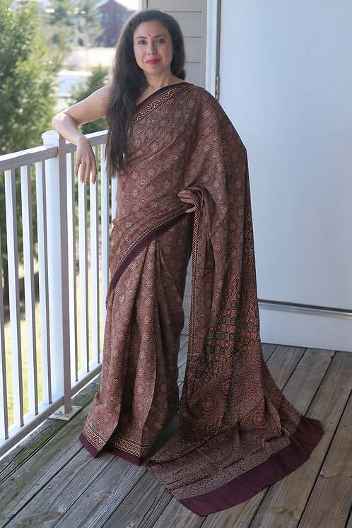 Ajrakh Saree on Pure Modal Silk with Natural Dye in Maroon