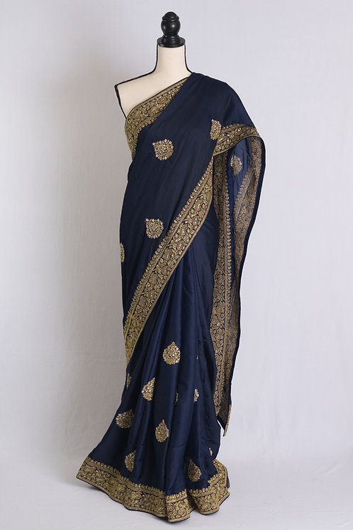 Embroidery Work Semi Satin Silk Party Wear Saree in Dark Blue