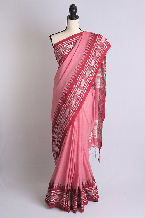 Soft Cotton Saree in English Pink and Brick Red