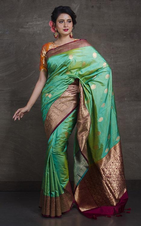 Pure Banarasi Silk Saree in Sea Green and Maroon