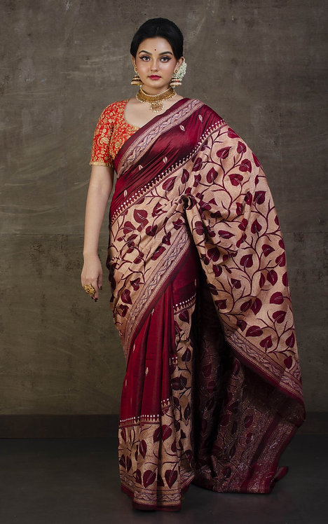 Hand Embroidery Kantha Stitch Saree on Pure Silk in Maroon, Off White and Beige