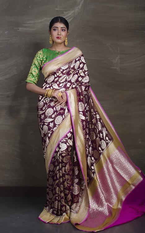 Pure Georgette Silk Banarasi Saree in Burgundy and Magenta