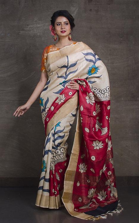 Kalamkari Printed Soft Tussar Saree with Fish Motif in Cream, Red and Gold