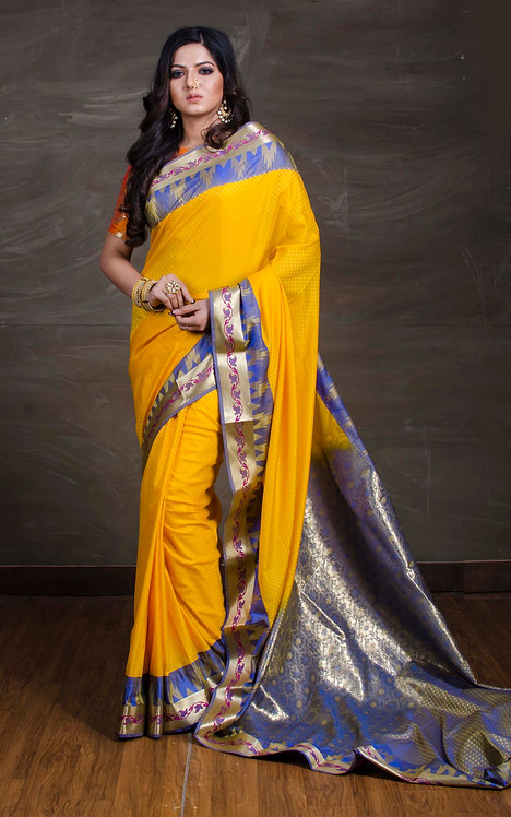 Art Silk Kanchipuram Saree in Yellow and Blue