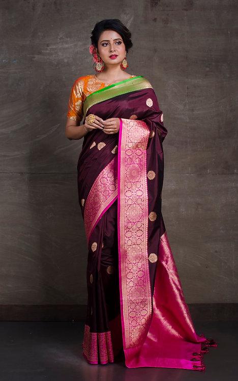 Pure Katan Banarasi Silk Saree in Dark Maroon, Green and Pink