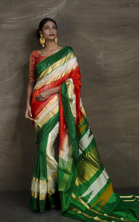 Pure Kanchipuram Silk Saree Red, Cream and White
