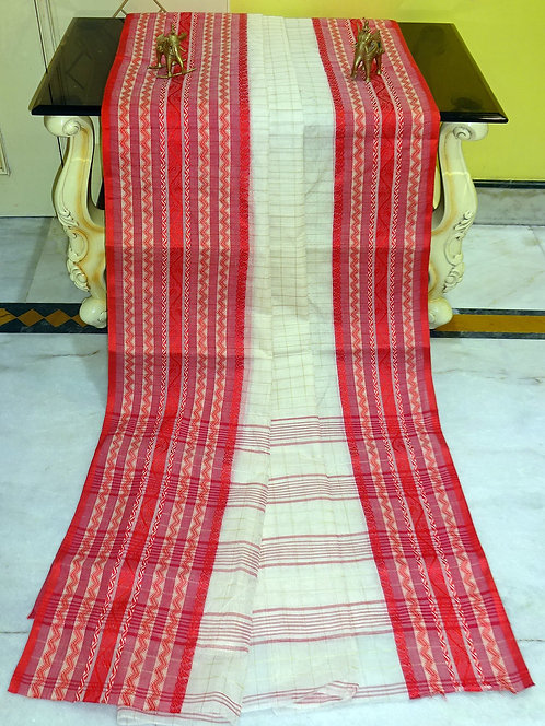 Bengal Handloom Cotton Saree with Starch in Off White and Red