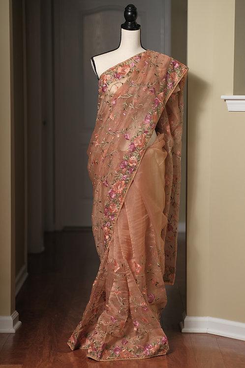 Designer Party Wear Embroidery Organza Saree in Brown