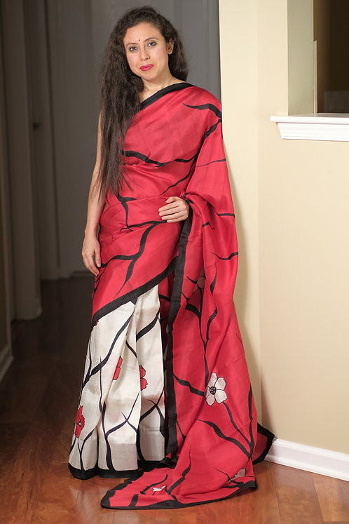 Bishnupur Patli Pallu Printed Pure Silk Saree in Red, Black and Off White