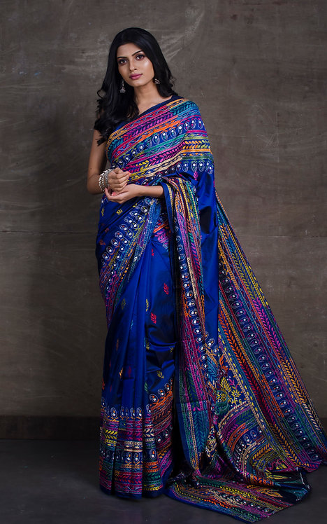 Hand Embroidered Kantha Stitched Silk Saree in Royal Blue