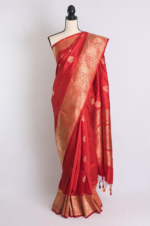Pure Katan Silk Banarasi Saree in Red and Gold