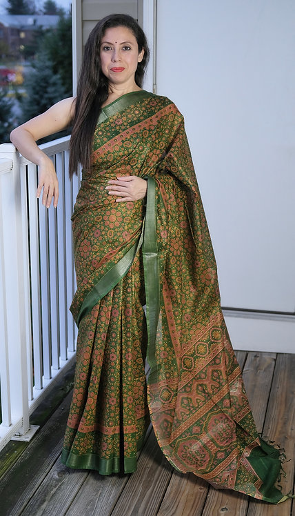 Block Printed Floral Linen Cotton Saree in Dark Green