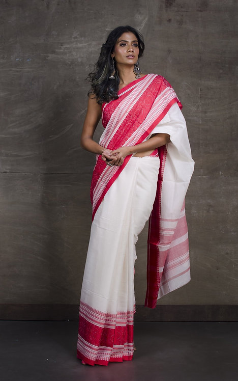 Bengal Handloom Soft Cotton Saree in White and Red