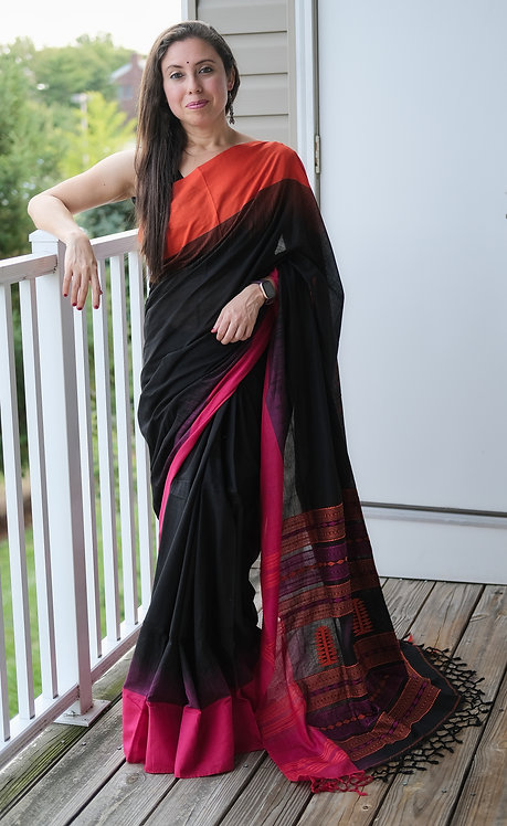 Khadi Soft Cotton Saree in Black, Pink and Orange