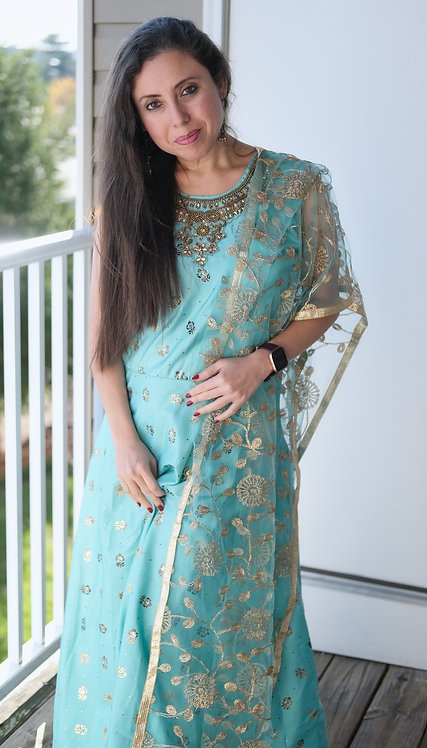 Indian Silk Long Gown with Zari Work Net Dupatta in Sky Blue and Gold